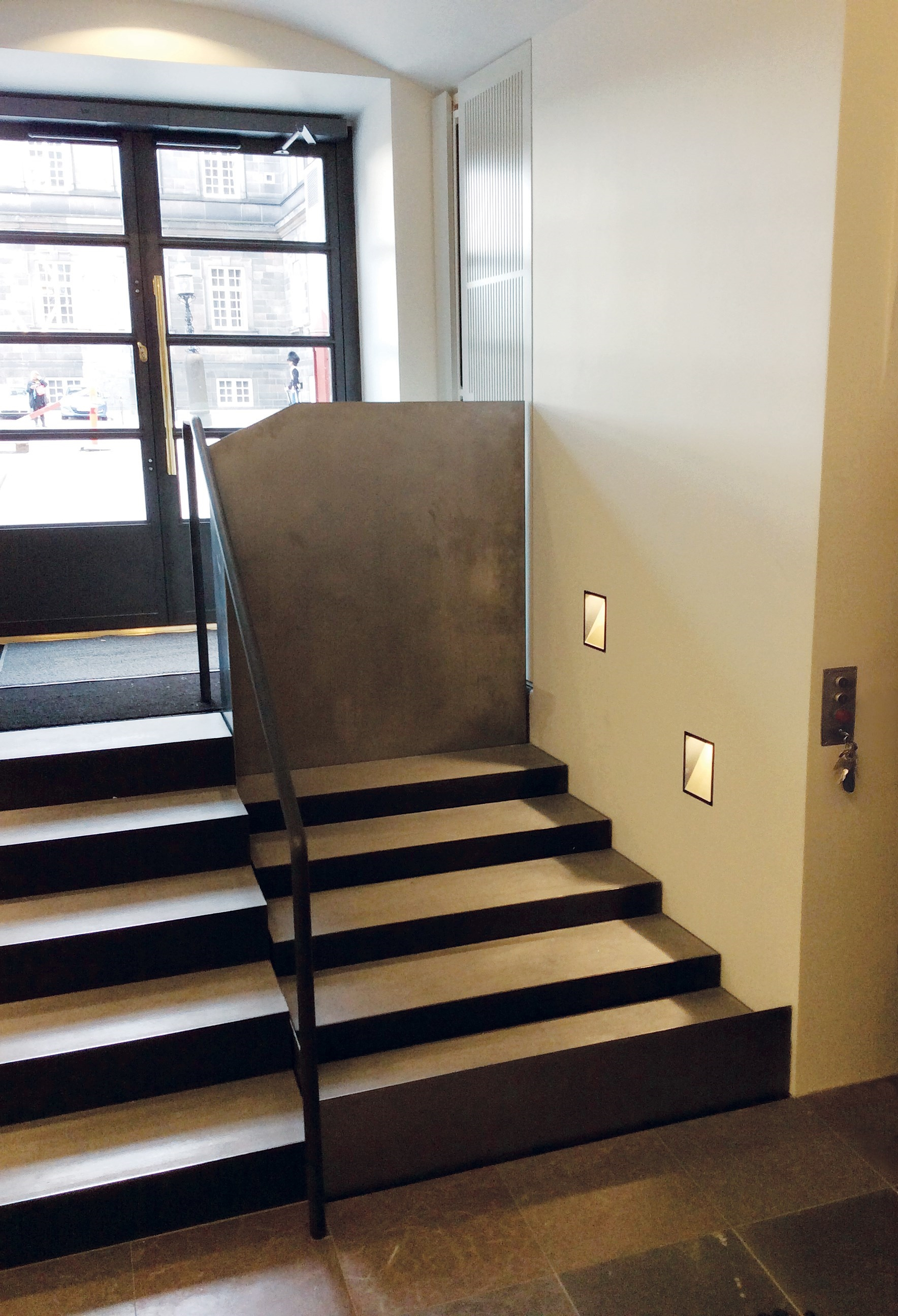 The steps transform into a platform lift - SLP model E - Specially designed to merge with its surroundings