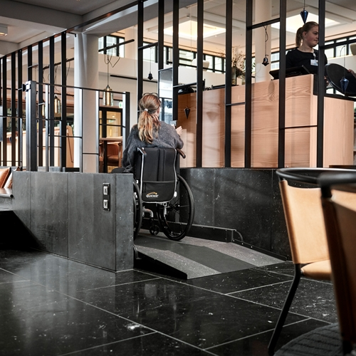 Stepless platform lift model A Nobis Hotel Copenhagen